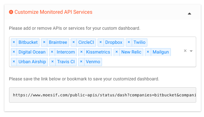 api status dashboard customize screen shot.