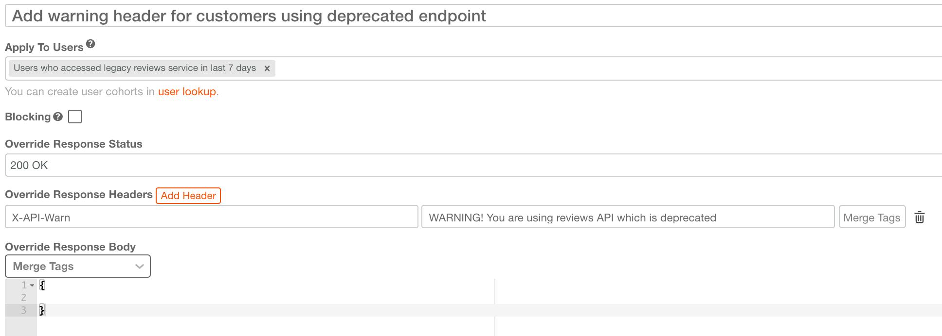 Add deprecation X-API-Warn HTTP Header